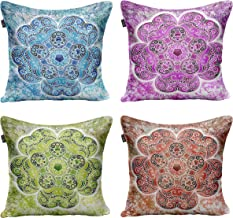 Timingila Mandala Ethnic Printed Living Room Sofa Cushion Cover 4 Piece Multicolor Crepe Satin Home Decor Pillow Cases-18 ...
