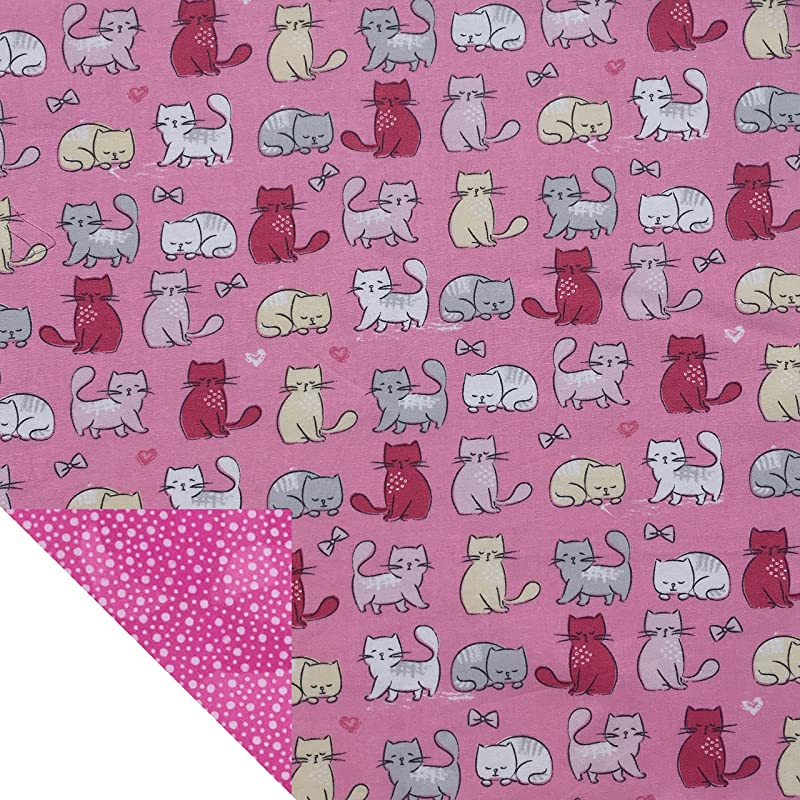 Kiddokins Cotton Cloth Napkins For Kids Lunchbox Pink Kittycat Double Sided Napkins