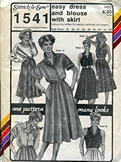 Stretch & Sew Pattern 1541 ~ Easy Dress & Blouse with Skirt ~ Bust 30-46