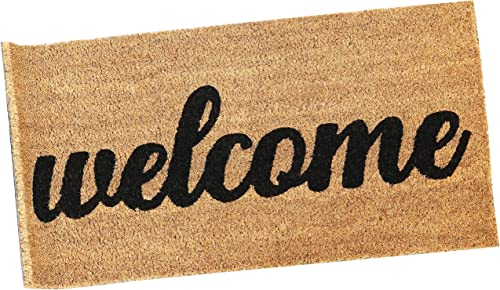 """wholesale Sunnydaze wholesale 17"""" x 30"""" Indoor/Outdoor Welcome Entrance Mat - Heavy Duty 53-Percent Coir and 47-Percent PVC Construction - Perfect outlet online sale for The Entryway, Mudroom or Front Porch outlet sale"""
