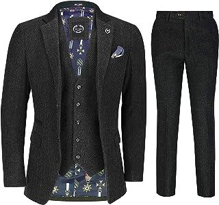 Mens Tweed 3 Piece Suit Retro Smart Tailored Fit Herringbone Jacket Waistcoat Trousers