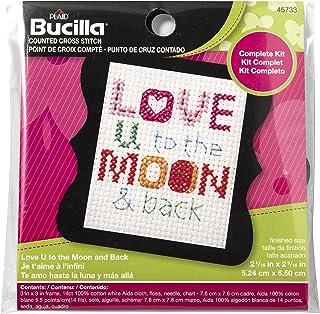 Bucilla 45733 Counted Cross Stitch Beginner Stitchery Mini Kit, Love You To The Moon & Back