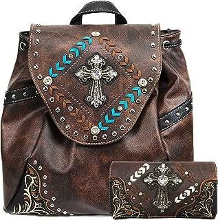 Trendy Western Cross Rhinestone Conceal Carry Women Backpack Purse