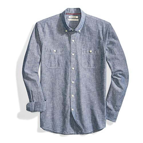 d48036a06a7 Goodthreads Men s Standard-Fit Long-Sleeve Chambray Shirt