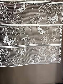 vitrage modulable droit blanc motif papillons Rideaux brise-bise