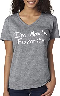 New Way 470 - Women's V-Neck T-Shirt I'm Mom's Favorite Daughter Son Sibling Rivalry
