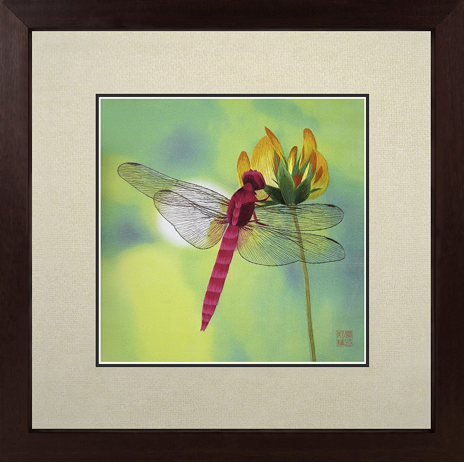 King Silk Art 100% Handmade Embroidery Multiple Framed Magenta Dragonfly Kisses A Yellow Flower Oriental Wall Hanging Art Asian Decoration Tapestry Artwork Picture Gifts 33019WFC3
