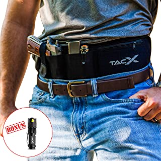 BELLY BAND HOLSTER for Active Concealed Carry   IWB/OWB Pistol Waistband Belt for Running, Hiking, Jogging   Waterproof Zipper Travel Pocket   Spare Magazine Pouch   Men & Women   BONUS LED TacLight