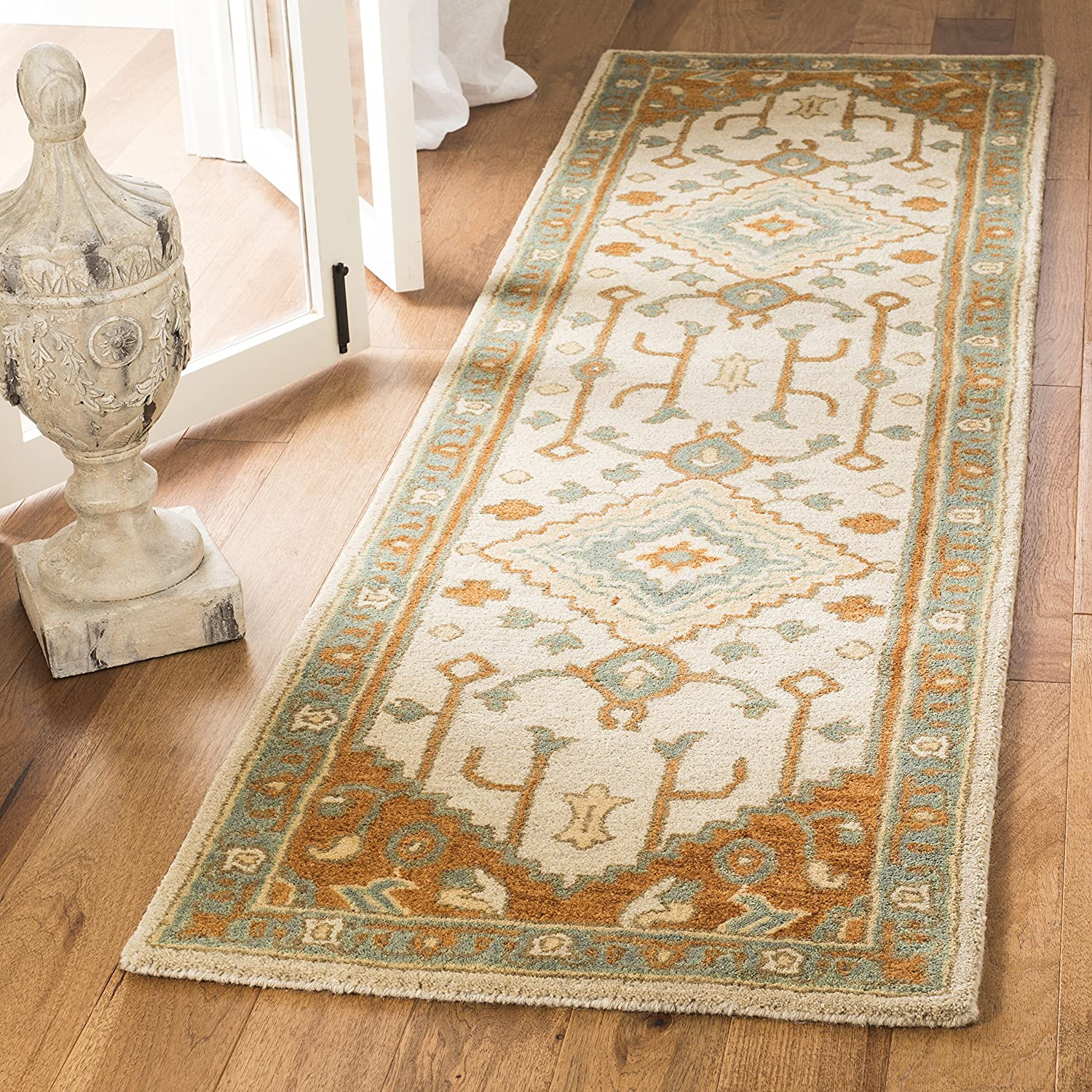 Safavieh Heritage Collection HG406A Light bluee and Rust Runner (2'3  x 10')