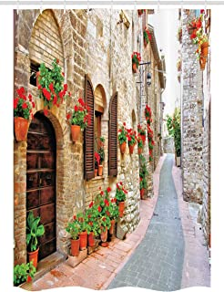 Ambesonne Tuscan Stall Shower Curtain, Porch with Colorful Flowers at an Old Street in Town in Italy in Sunny Day, Fabric Bathroom Decor Set with Hooks, 54 W x 78 L inches, Brown Vermilion Tan