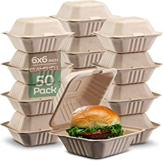"""100% Compostable Clamshell Take Out Food Containers [6x6"""" 50-Pack] Heavy-Duty Quality to go Containers, Natural Disposable Bagasse, Eco-Friendly Biodegradable Made of Sugar Cane Fibers"""