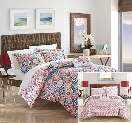 featured product Chic Home Angel 3 Piece Reversible Quilt Cover Set 100% Cotton Bohemian Geometric Print,  Twin Pink