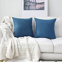 (46cm x 46cm,2 Pieces, S-Navy Blue) - Kevin Textile Faux Linen Home Decorative Hand Made Cushion Cover Pillowcase for Nap,...