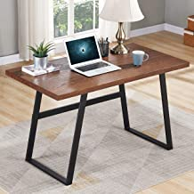 BON AUGURE Small Wooden Writing Desk, Industrial Computer Desk for Small Spaces, Rustic Table Desk for Home Office (47 inch, Espresso)