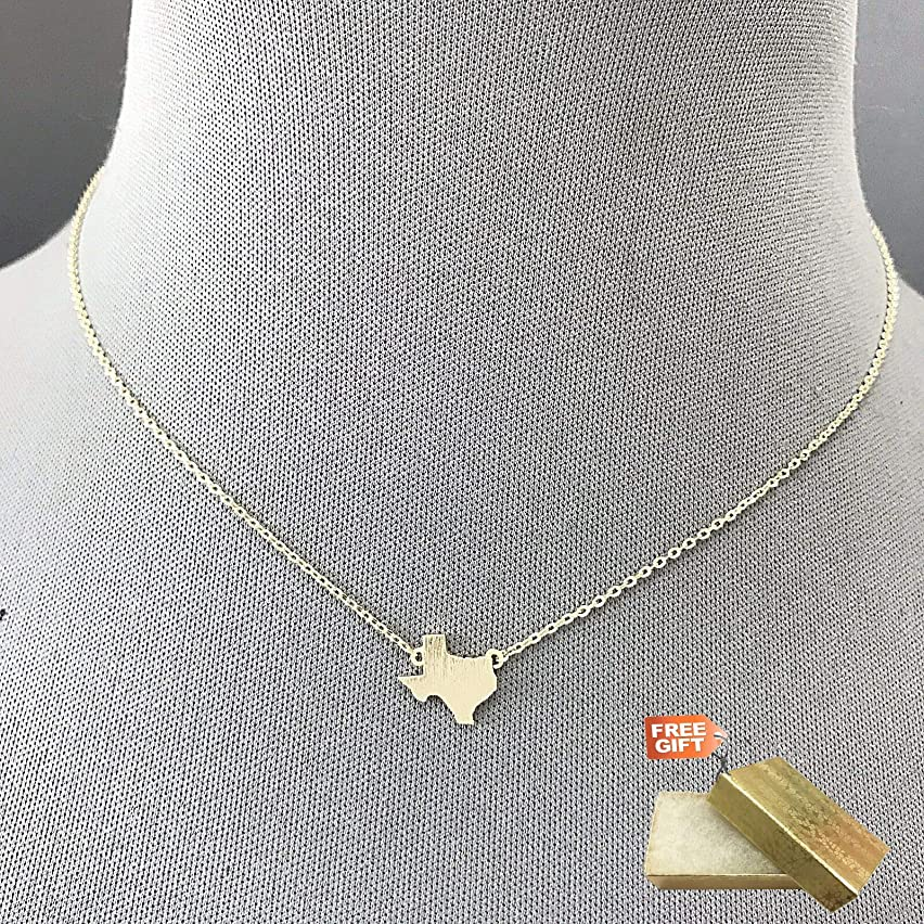 Fashionable Trendy Silver Dainty Metal Texas State Pendant Design Necklace Set For Women + Gold Cotton Filled Gift Box for Free
