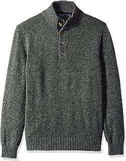 IZOD Men's Buttoned Mock Neck Solid 7 Gauge Sweater