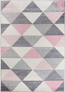 Alfombra Smoothie Pink 4 tamaños para el Dormitorio o Sala de Estar, Rosa, Gris, cremoso, triángulo (80 x 150 cm)