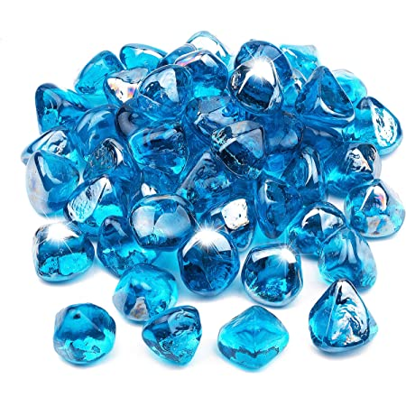 "Decorative Fire Glass Cashews 1/"" Blue-Green Aquamarine 10 lbs for Fire Pit"
