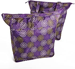 Rachael Ray Market Tote Bags, Set of 2 Reusable Grocery/Shopping Bags, Zipper Top, Foldable, Purple Floral Medallion