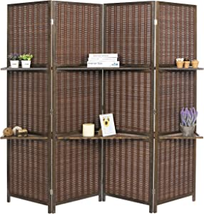 MyGift Deluxe Woven Brown Bamboo 4 Panel Folding Room Divider Screen w/Removable Storage Shelves