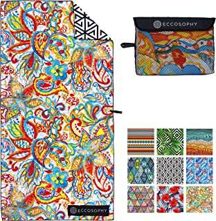ECCOSOPHY Microfiber Beach Towel - Quick Dry Pool Towels 71x35 inches Oversized Travel Towel - Lightweight Compact Beach Accessories for Women - Large Sand Free Micro Fiber Beach Towels