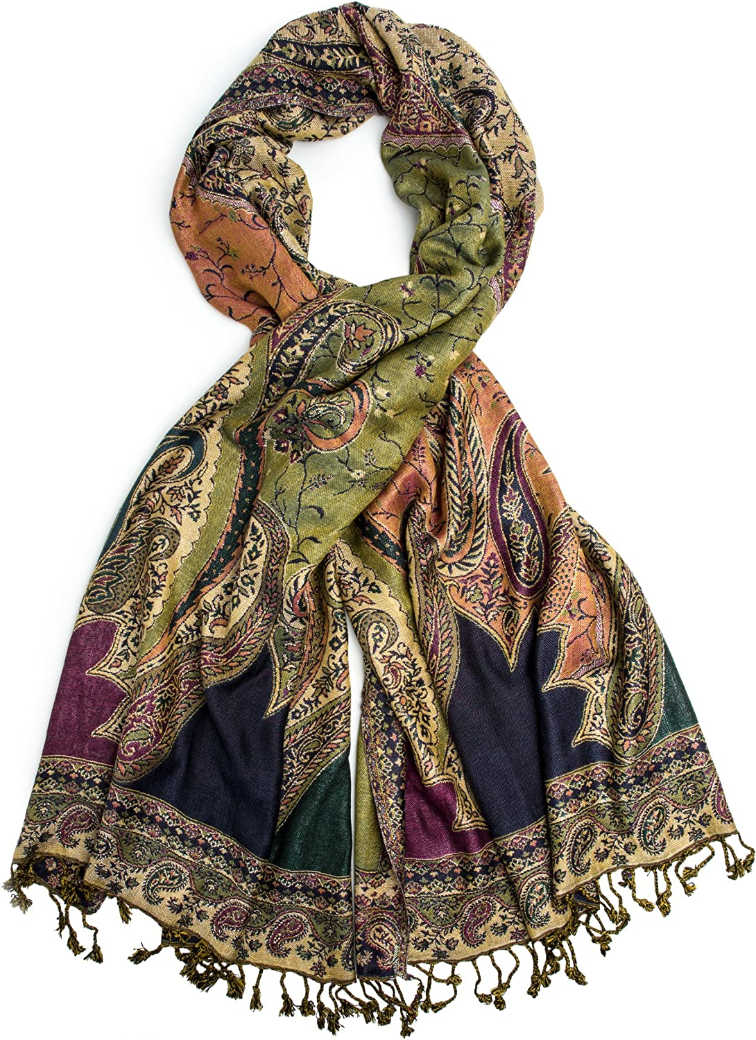 Bohomonde, Hana Reversible Cashmere Silk Pashmina Scarf, hand made in India