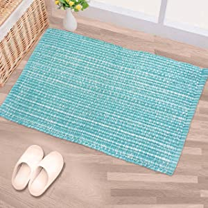 CHARDIN HOME 100% Cotton Washable Rug Turquoise and White   21x34 Bathroom Rug Kitchen entryway   Reversible Handwoven Rug Machine Washable.
