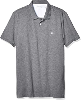 Calvin Klein Jeans Men's Badge Pima Cotton Polo Top, Grey Heather, M