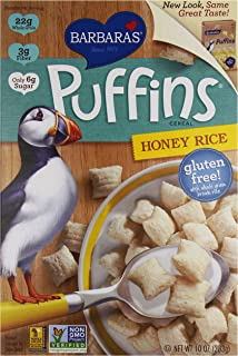 Barbara's Bakery Puffins Cereal, Honey Rice, 10 Ounce, Pack of 6