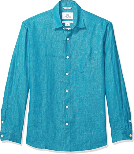 28 Palms Relaxed-fit Long-Sleeve 100% Linen Shirt Homme