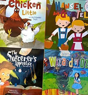Four (4) 5 Minute Storytime Books: Wizard of Oz, The Sorcerer's Apprentice, Hansel and Gretel, and Chicken Little