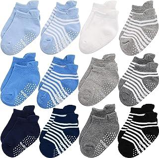 Calcetines Antideslizantes Para Bebés y Niños Pequeños - Empuñaduras Ergonómicas Antideslizantes Para Niños Niñas - 12-36 Meses Conjunto de Calcetines de Algodón Suave y Transpirable (Blue Craft)