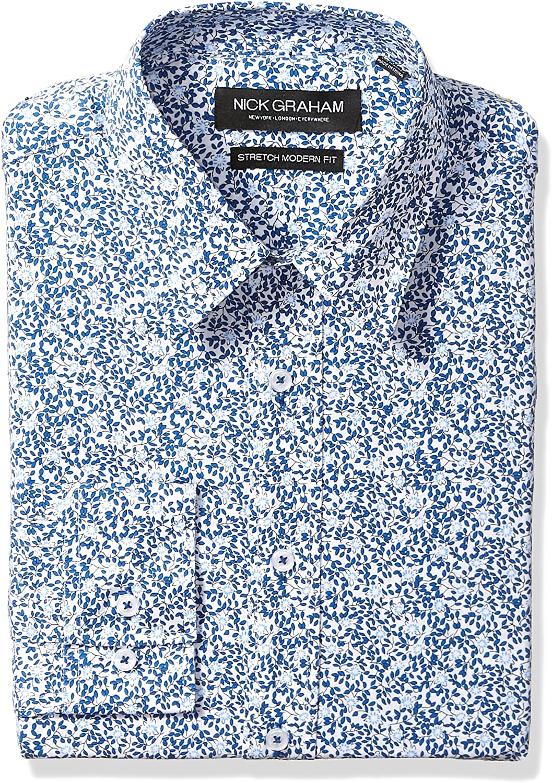 Nick Graham Men's Modern Fitted Vine Floral Print Stretch Dress Shirt