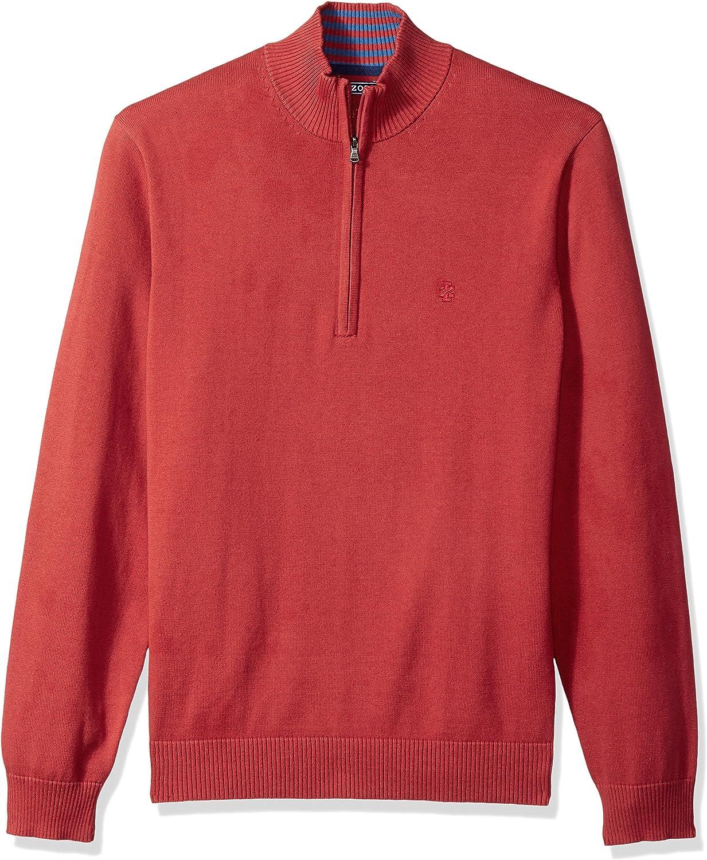 Izod Mens Fine Gauge Solid 1//4 Zip Sweater
