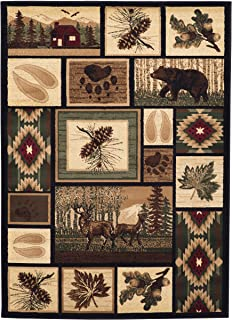 Rugs 4 Less Collection Rustic Western and Native American Wildlife and Wilderness Cabin Lodge Accent Area Rug - R4L 386 (4x5)