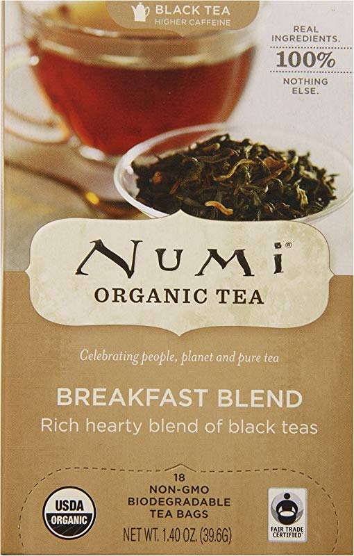 Numi Organic Tea Fair Trade Breakfast Blend Morning Rise Full Leaf Black Tea In Teabags 18 Count Box Pack Of 6