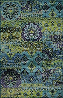 blue and lime green rug