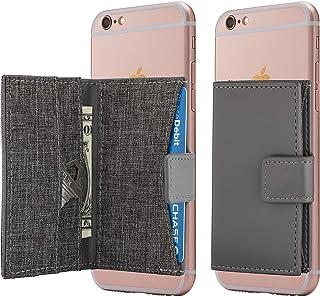 محفظة الهاتف الخليوي عصا على حامل بطاقة جيب الهاتف لفون والاندرويد وجميع الهواتف الذكية (رمادي الفحم)