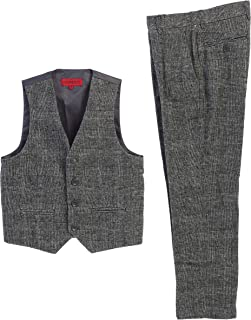 Boy's 2 Piece Tweed Plaid Vest and Pants Set