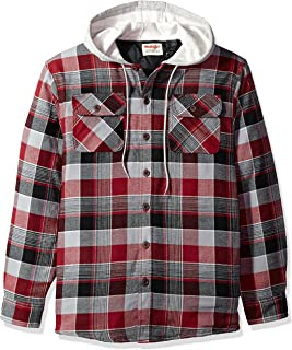 Authentics Men's Long Sleeve Quilted Line Flannel Jacket with Hood