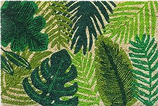 Felpudo de Fibra de Coco Antideslizante con Hojas Tropicales de Entrada, Verde, 40 cm x 60 cm x 15 mm