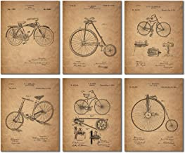Bicycle Patent Prints - Set of 6 Vintage Bike Decor Wall Art Photos