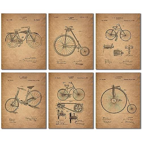 Bicycle Patent Prints - Set of Six Vintage Bike Decor Wall Art Photos b60395069
