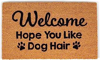 BIRDROCK HOME Dog Hair Coir Doormat - 18 x 30 Inch - Funny Door Mat - Standard Welcome - Natural Fade - Vinyl Backed - Ind...
