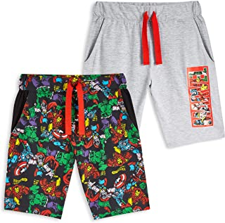 Pantalones Cortos, Pantalon Corto Niño con Los Vengadores Iron Man Capitan America Thor y Hulk, Pantalon Pijama Niño Verano, Regalos para Niños
