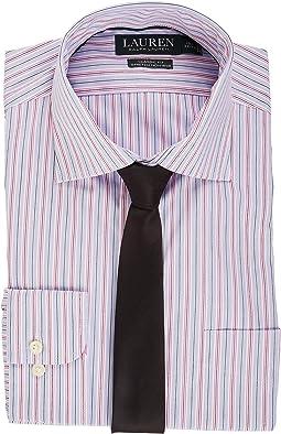 LAUREN Ralph Lauren - Non Iron Poplin Stretch Classic Fit Spread Collar Stripe Dress Shirt