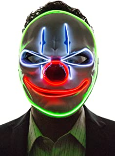 Neon Nightlife Light Up Evil Clown Mask, Evil Tongue Grin Purge