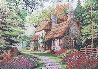 Bead Embroidery kit Cosy House Needlework Beaded Cross Stitch Cottage Landscape