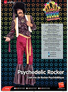 Smiffy's Men's 70's Psychedelic Rocker Costume, Flares, top with Attached Waistcoat and Headpiece, 70 Disco, Serious Fun, ...
