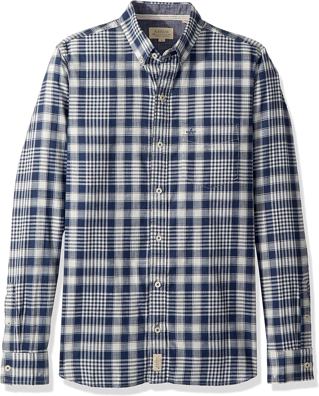 Lutratocro Mens Long-Sleeve Classic Top Plaid Cotton Button Down Shirt